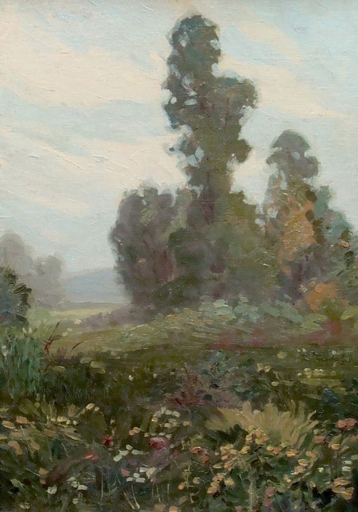 Flowers in Landscape by Glen Sheffer, 20x14 Oil Painting
