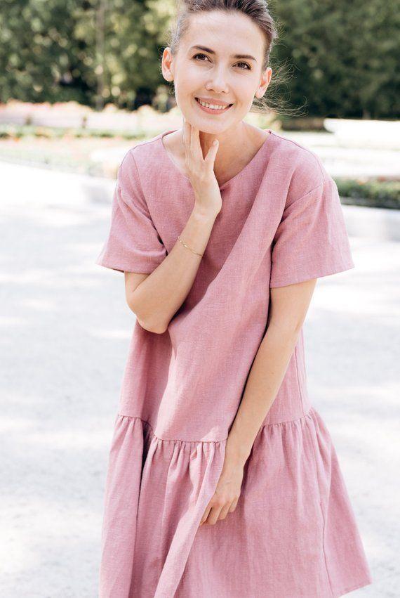 e6d609b2abf LeMuse dusty rose MAGIC linen dress in 2019