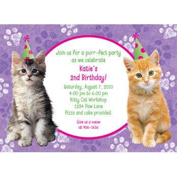 Kittenbirthdayinvitations Cat Birthday Invitations Kids