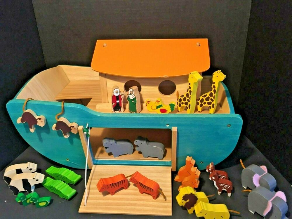 Voila Solid Wooden Toy Noah S Ark W Animals Noah And Wife Rolling Imaginative Noahsark Noahs Kidsto Noahs Ark Animals Toy Playsets Wooden Toys For Toddlers
