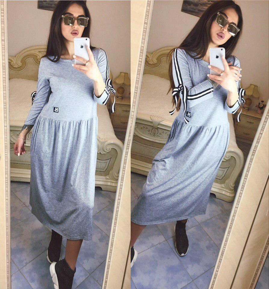 Платье с бантиками на рукавах / вискоза / Украина | Платья ...