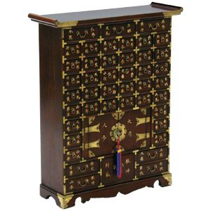 Reproduction Korean Furniture. Apothecary Style Chest. Wood And Brass.  #DecorativeKoreanArt