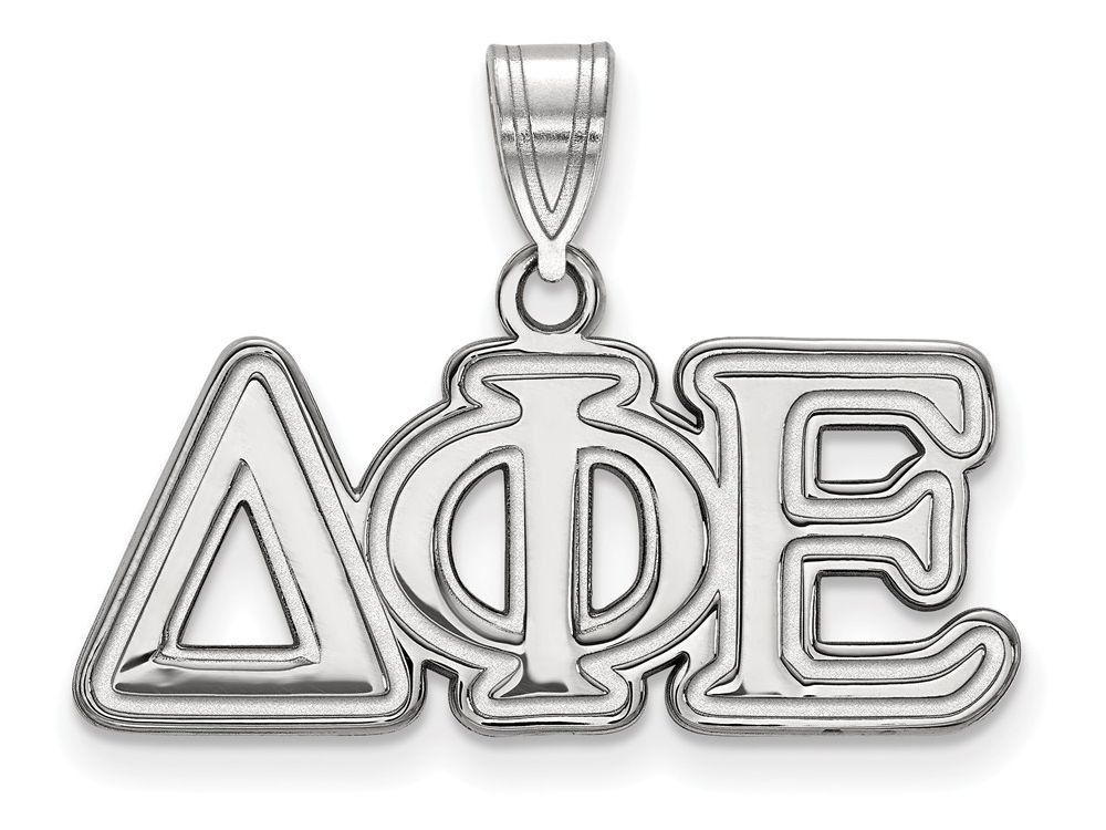 LogoArt Sterling Silver Delta Phi Epsilon Medium Pendant Necklace - Chain Included