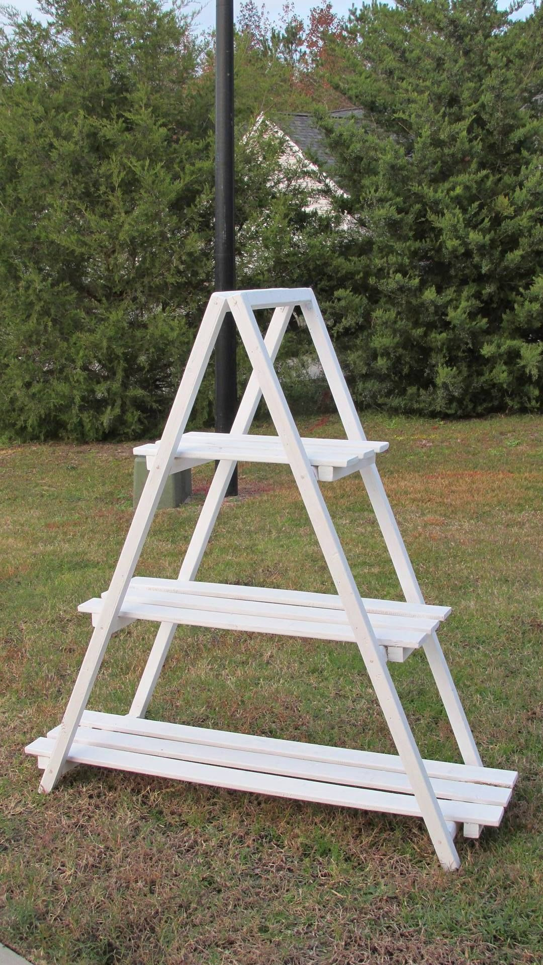 Wooden A Frame Plant Stand  Rustic Ladder  Quilt Ladder