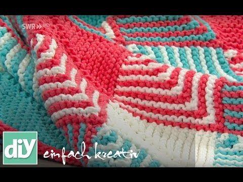 plaids stricken mit patchwork technik diy einfach kreativ youtube afghans and pillows. Black Bedroom Furniture Sets. Home Design Ideas