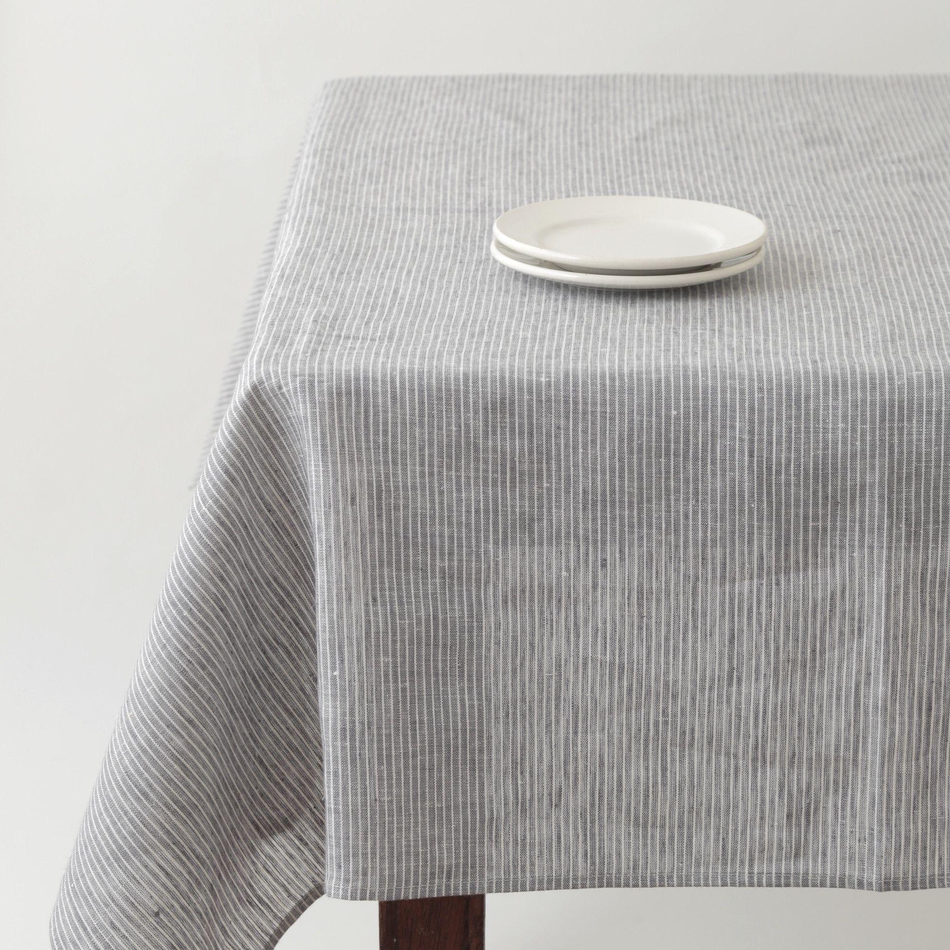 Marvelous Tablecloth: Grey White Thin Stripe