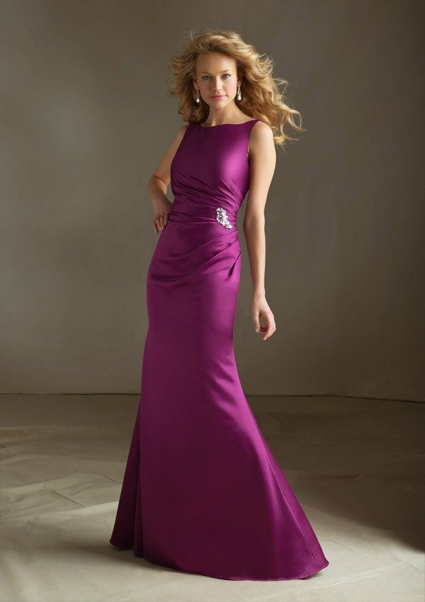 Boat Neck Fit And Flare Bridesmaids Dress With Ruched Waist Beading Detail Fabric Satin