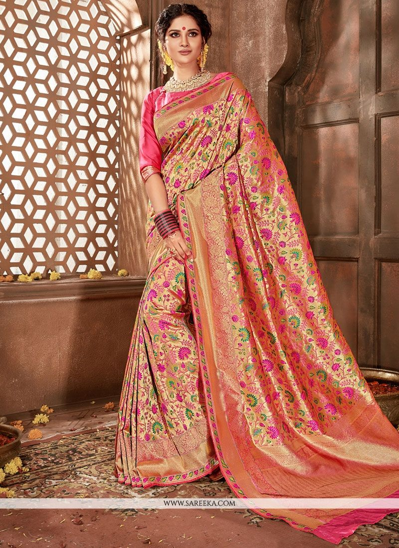 864119679a Online shopping site for latest collection of saree, designer saree. Grab  this banarasi silk rose pink designer traditional saree for bridal and  wedding. -