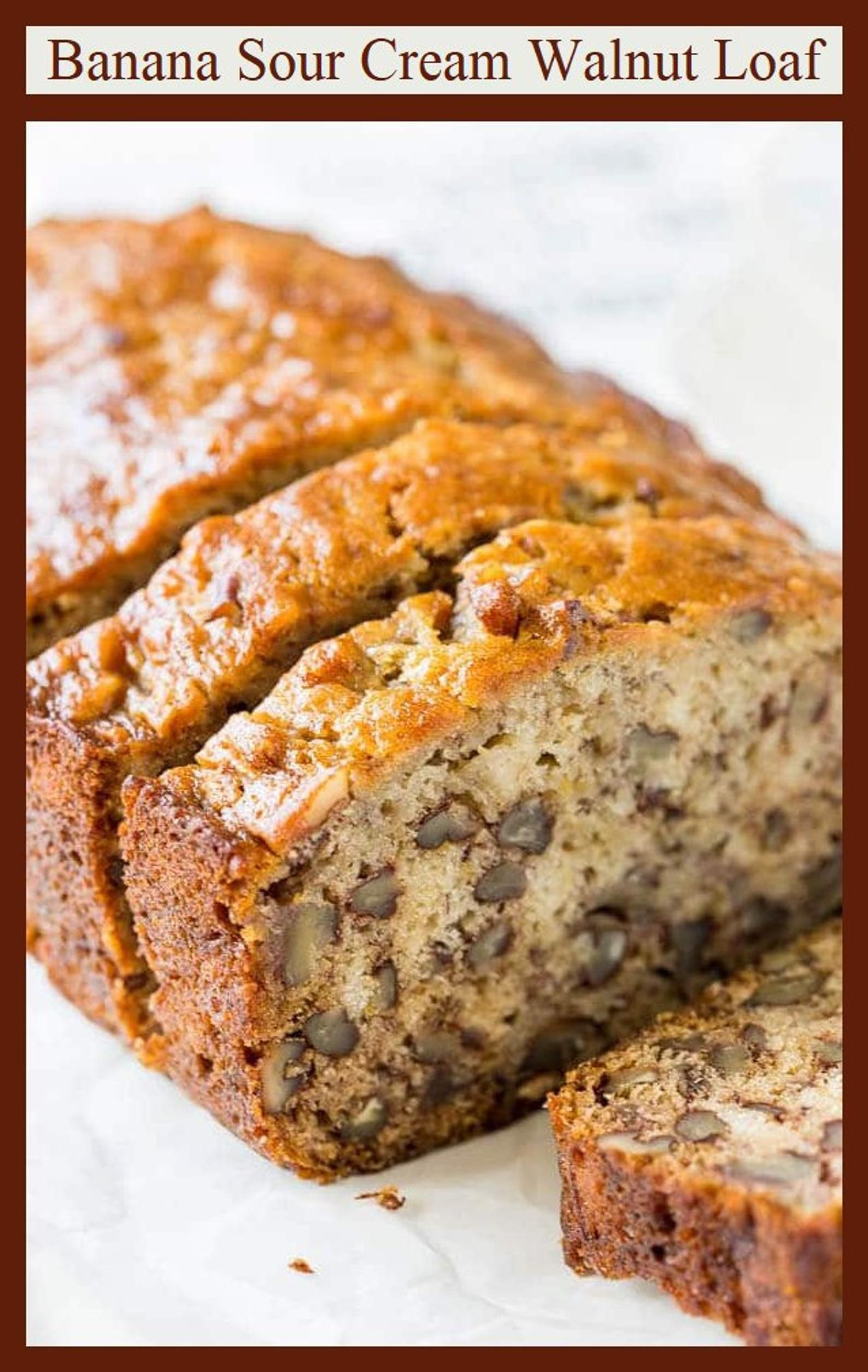 Banana Sour Cream Walnut Bread An Old Fashioned Vintage Recipe Great For Holiday Brunch Gift Baskets Perfect For Shipping To Friends In 2020 With Images Banana Bread Recipes Banana