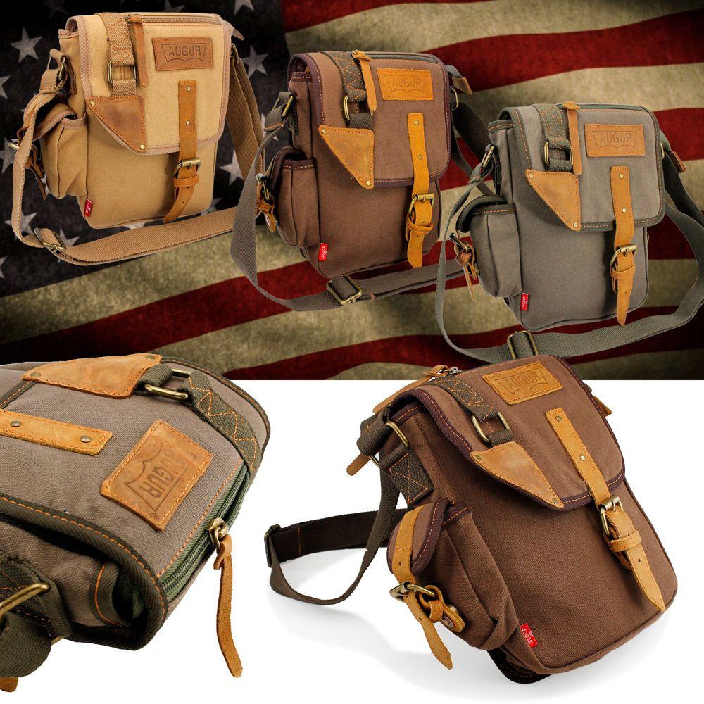 US Men/'s Vintage Canvas Leather Messenger Shoulder Bag Military Travel SatchelEK
