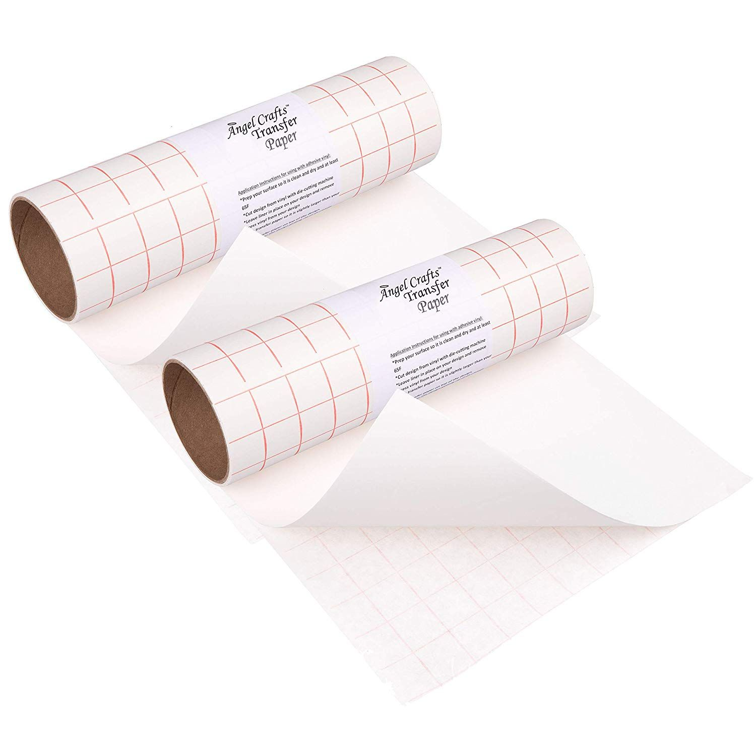 Angel Crafts Transfer Paper Tape 2 Pack Craft Transfer Tape For Vinyl Application With Red Grid Lines Two Transfer Paper Paper Tape Transfer Tape For Vinyl
