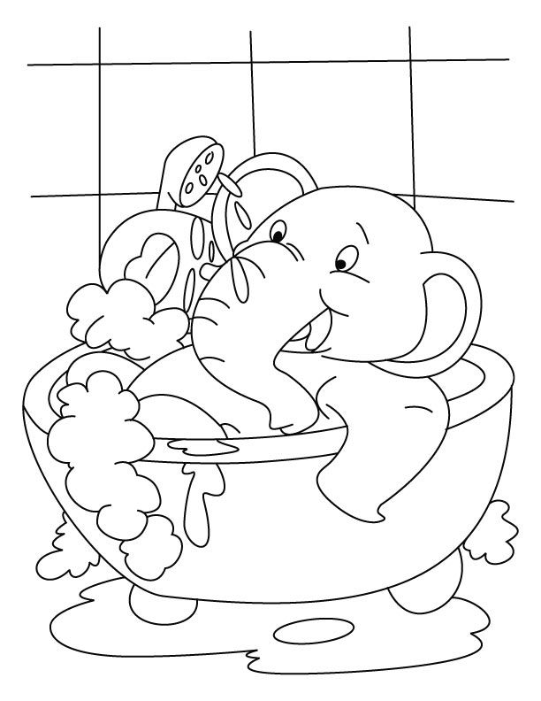 Elephant In Bubble Bath Coloring Page Elephant Coloring Page