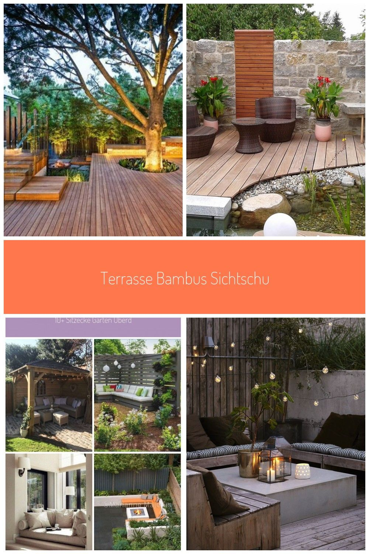 Terrasse Bambus Sichtschutz Sitzecke Garten Rasenflche