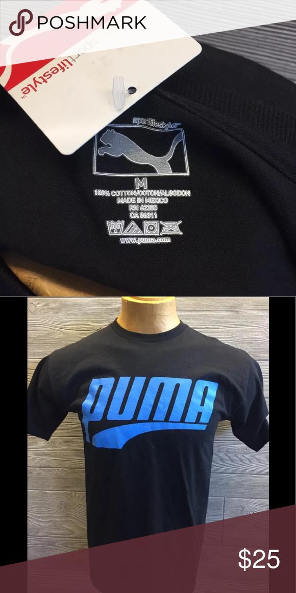 Men's PUMA Logo Tee, Size: Small, Grey | Mens tees, T shirt