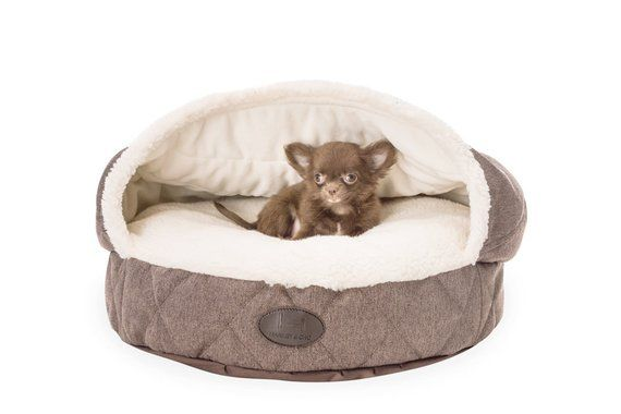 Durable Dog Bed With Faux Fur Small Pouf Cover Brown