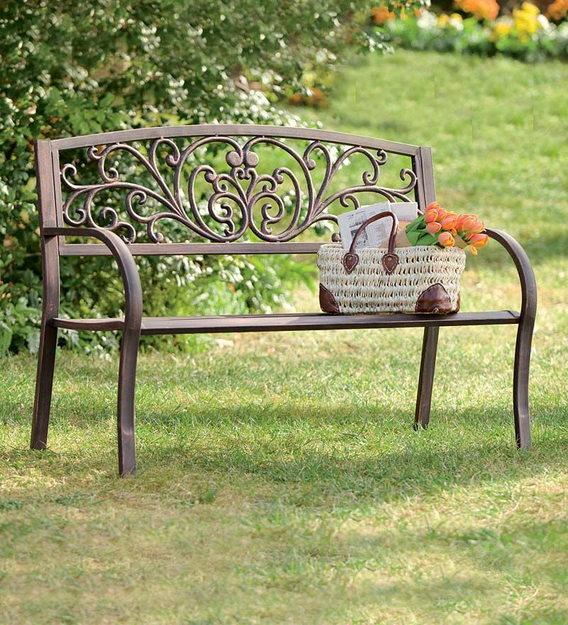 Blooming Garden Cast Aluminum Bench Benches Chairs Metal Garden Benches Outdoor Garden Bench Metal Bench