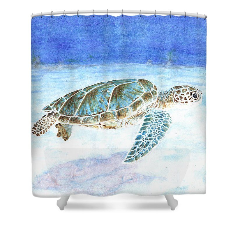 Sea Turtle Underwater Shower Curtain For Sale By Marylene Charvet