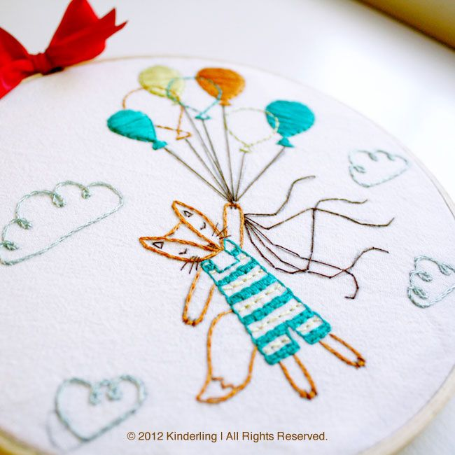 floating fox embroidery - I love the combination of open and filled ...