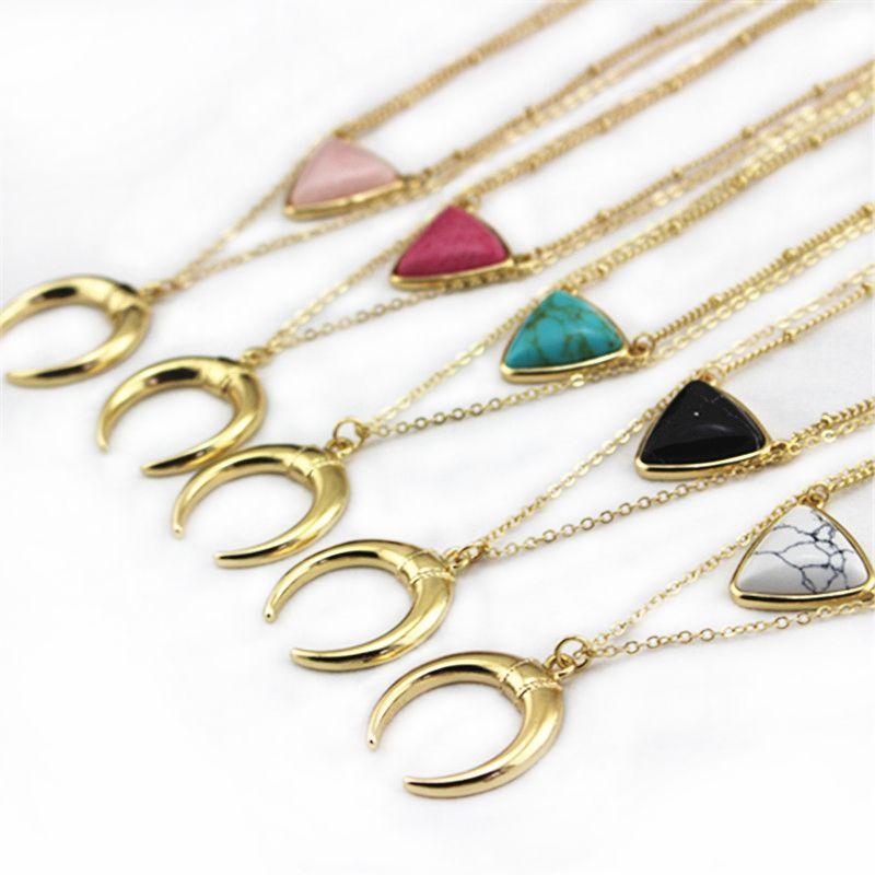 Envío de la Nueva mujeres de la moda Estadounidense De Mármol Blanco Con Incrustaciones de Turquesa Collar de oro regalo de la muchacha negro collares de piedra
