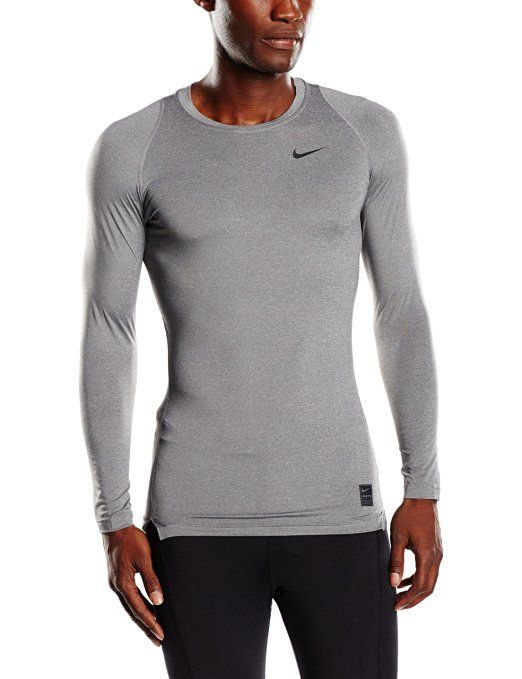 Nike Pro Combat Mens Long Sleeve Dri-Fit Shirt Gray Size M Dri-FIT fabric  helps keep you comfortable and dry. Back panel mesh is zoned for optimal  cooling.