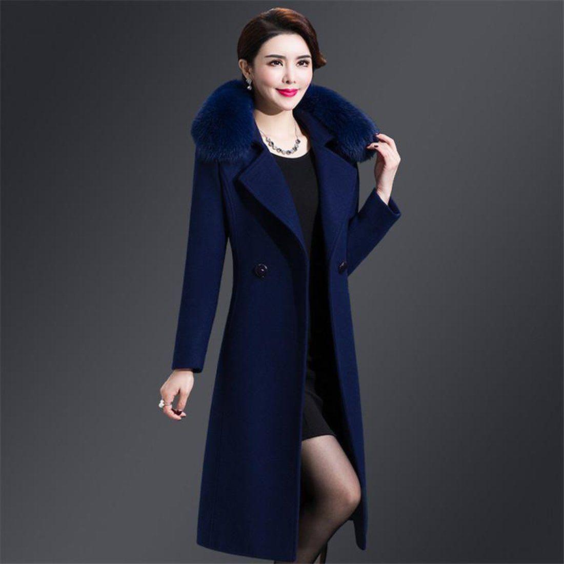 Office Lady Slim Women Long Wool Blend Coat Double Breasted
