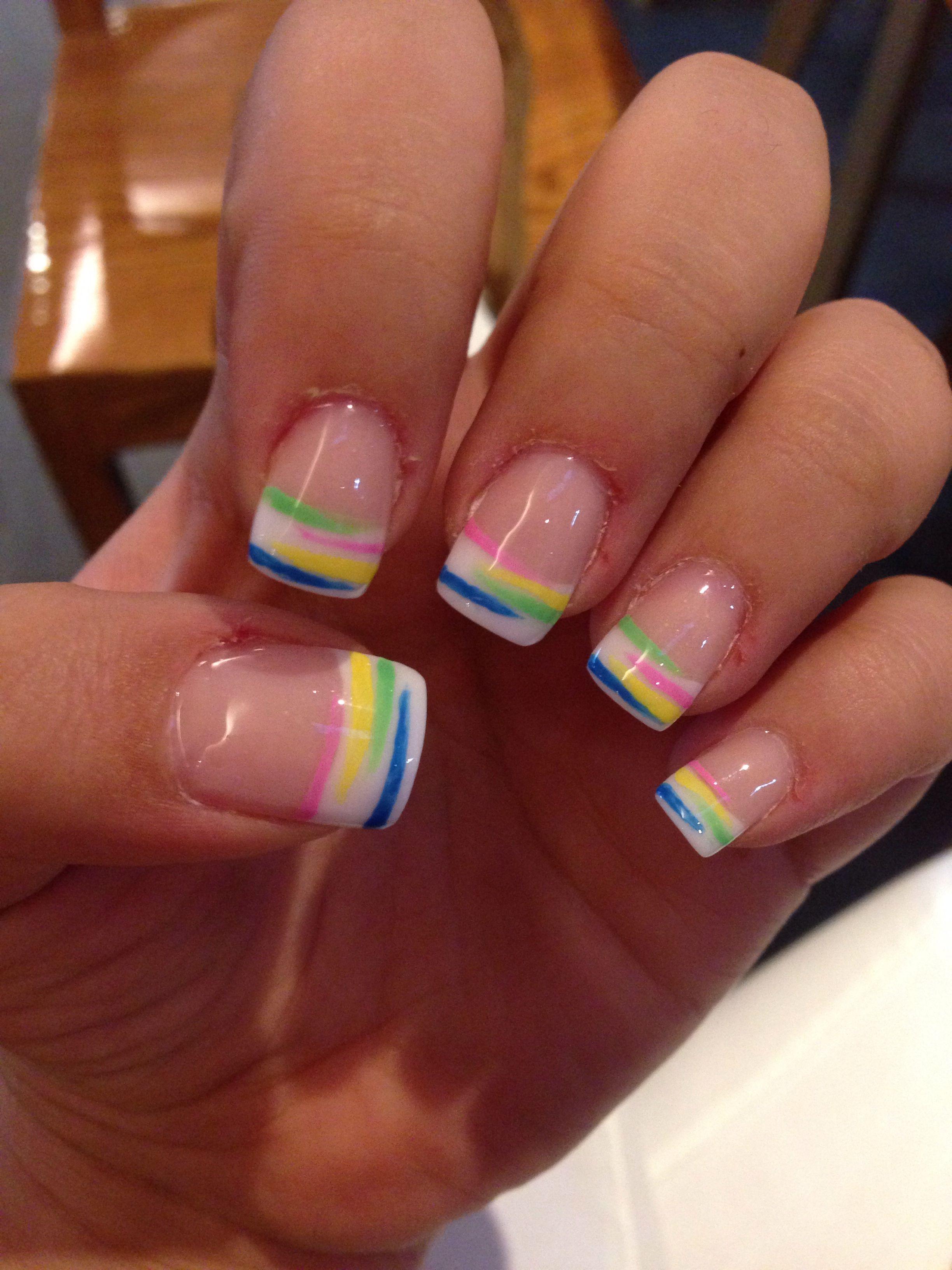 Summer french acrylic nails #nail #art #french #colors | nails ...