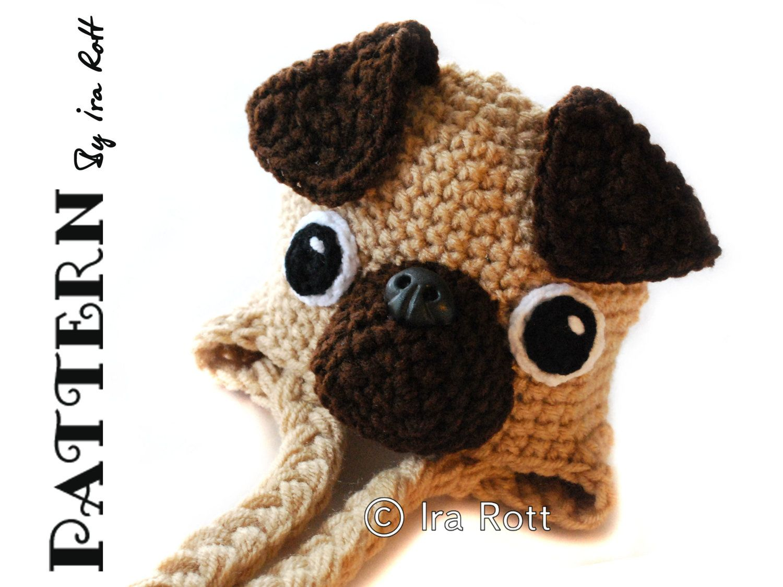 cd6a3ebe55e CROCHET PATTERN The Pugfect Pug Puppy Dog Hat Crochet PDF Pattern ...