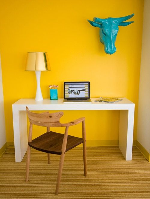 Home Office Ideas And Color Schemes Vivid Yellow Wall And Blue Bull Head Home Office Decor Home Office Colors Interior