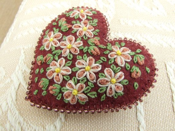 Deep Pink Felt Hand Embroidered Heart Pin..maybe different background color.