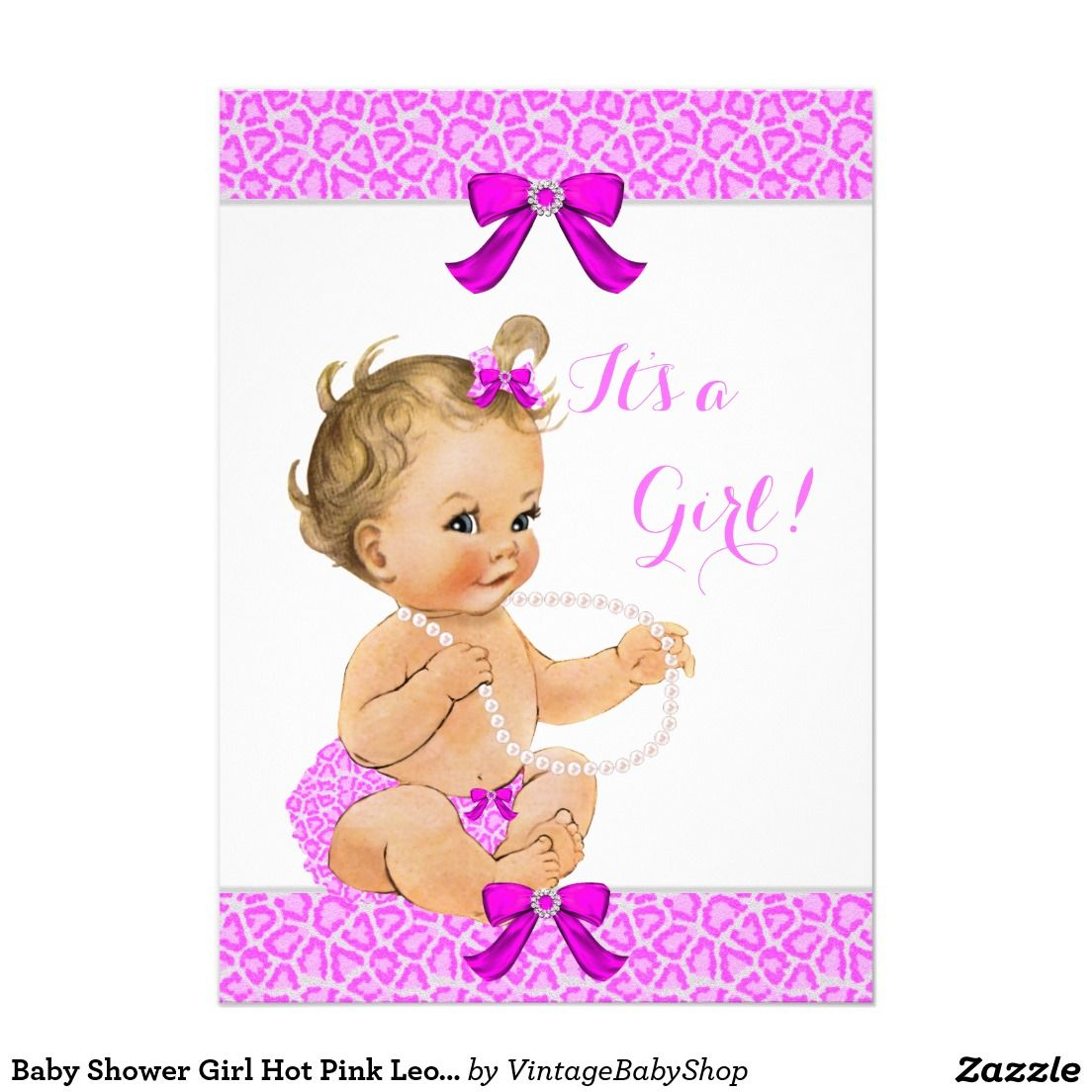Baby Shower Girl Hot Pink Leopard Pearls Blonde Card | Pearl blonde ...