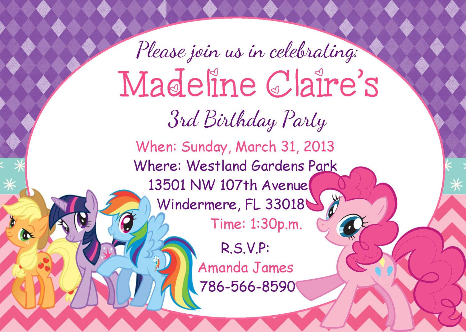 my little pony birthday invitation. $10.00, via Etsy. | cumpleaños ...