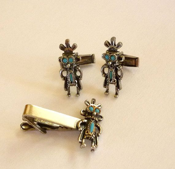 Turquoise Mayan Cufflinks Tie Bar Set