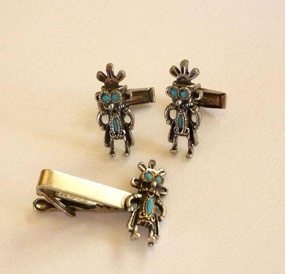 Turquoise Mayan Cufflinks Tie Bar Set
