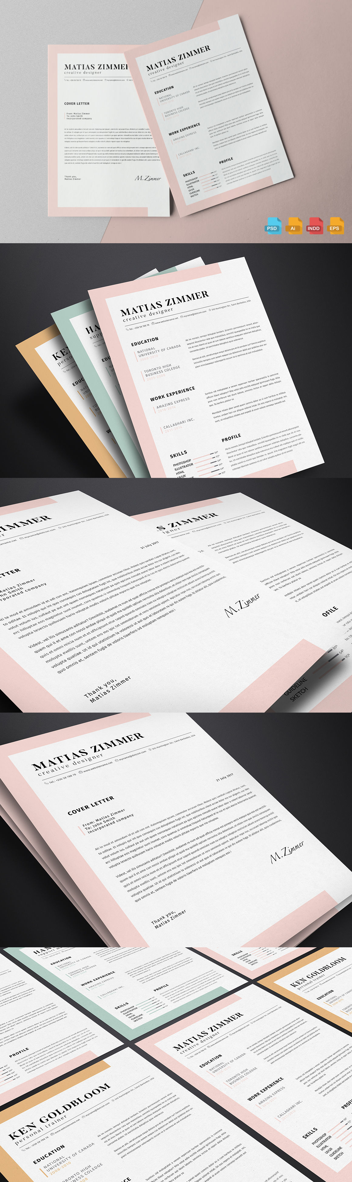 Clean Resume Template Ai Eps Indd Psd  Resume Templates