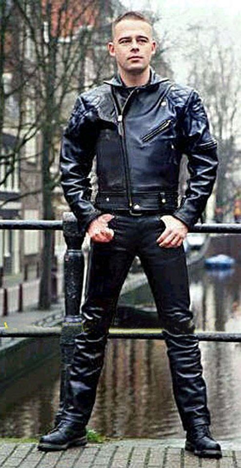 cool guy in leather gear in Amsterdam | Langlitz | Leather ...