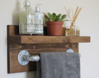 Photos Of Items similar to Reclaimed Wood Copper Rod Double Towel Rack Bathroom Shelf Rustic Home Decor Pallet Towel Rack Pallet Furniture on Etsy