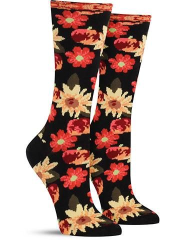 Petunia Pommes Crazy Floral Pattern Novelty Socks for Women