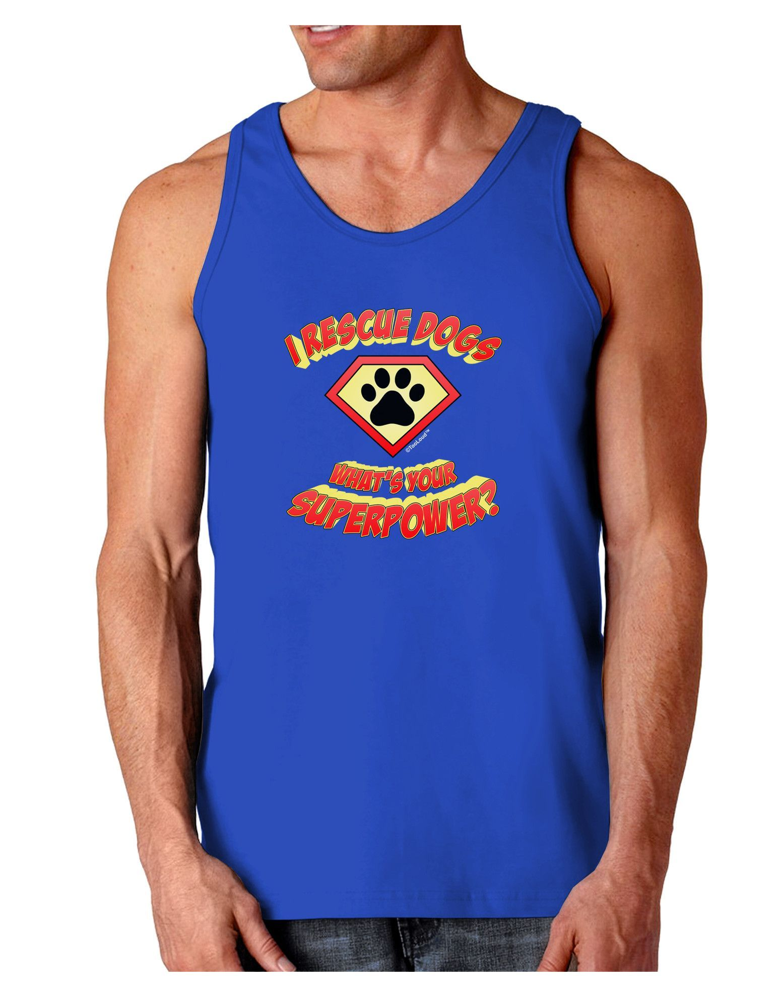 TooLoud Rescue Dogs - Superpower Dark Loose Tank Top
