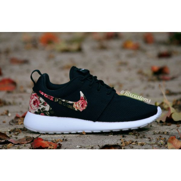 1b5625ad7314 Floral Nike Roshe Run Custom Black White Roses MEMORIAL DAY SALE ❤ liked on  Polyvore
