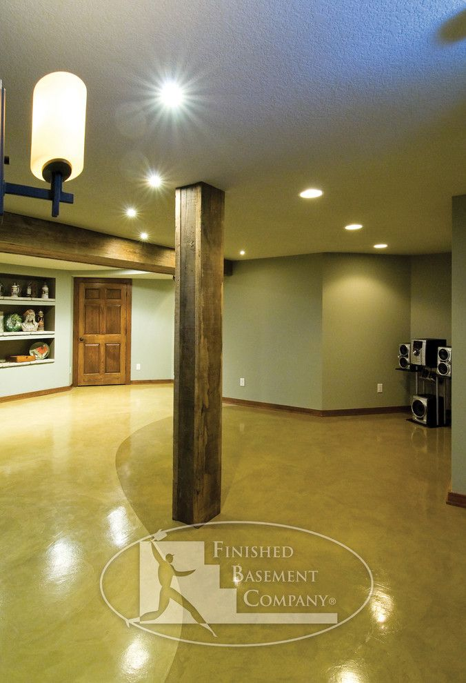 Pretty Reclaimed Wood Columns Decorating Ideas in Basement Eclectic design ideas with Pretty basement beam dance design EXERCISE finished basement flooring furnishings lighting materials music