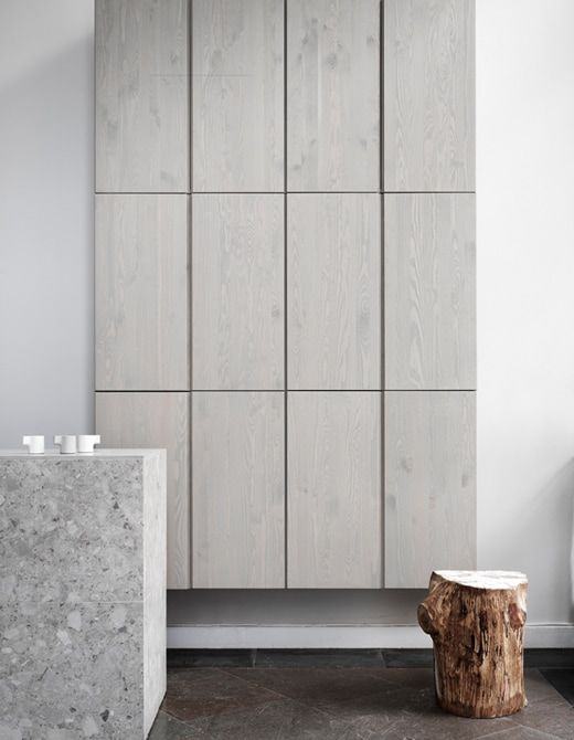 Ivar Cabinets Here Painted With Diluted Gray Wall Paint And A