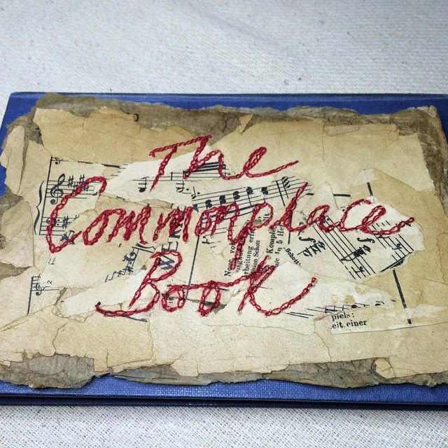 #finished the cover of my latest #book.  A new #project. #Embroidering  #chain #stitch into #layered #vintage #papers to #write my #red #lettering in #stitched #thread.  #ArnoldsAtticStitchery #TheCommonplaceBook. #Slowstitching