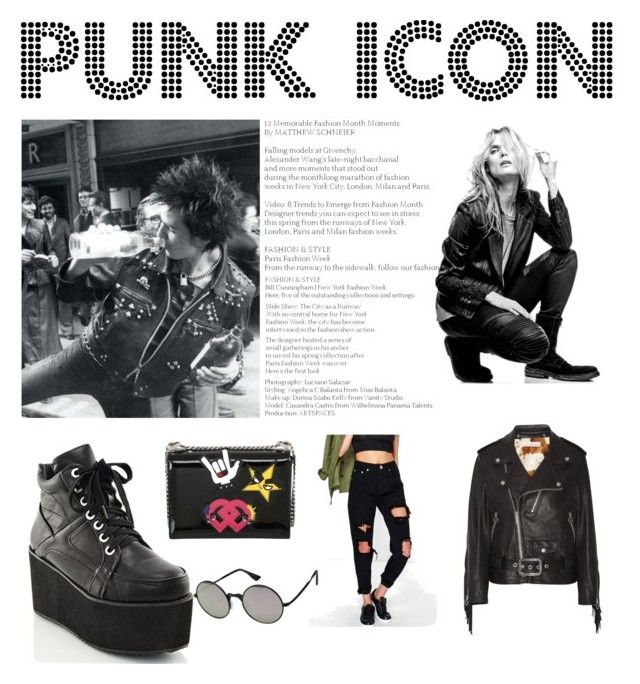 """""""Punk"""" by fiorellatarantino ❤ liked on Polyvore featuring Golden Goose, Superfine, Boohoo, Dsquared2 and Le Specs"""