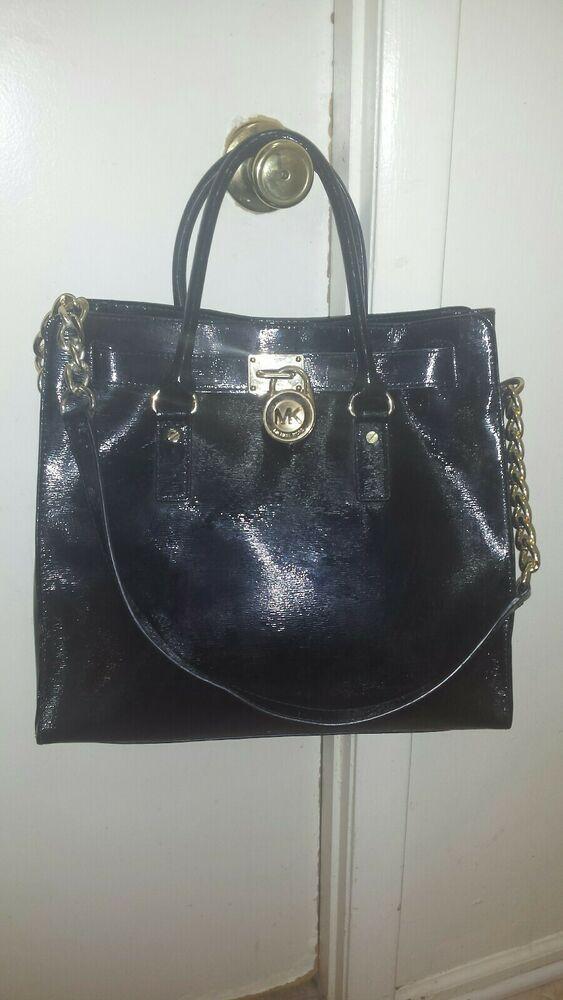 a05b04fa0117 MICHAEL KORS Hamilton Saffiano Leather Black Large Satchel Gold Lock AP-1309