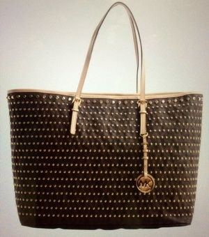 I'm selling MICHAEL MICHAEL KORS Brown Studded Leather SM Jet Set Tote Bag in Bellevue, WA (sells for $189)