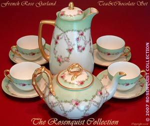 1900 Rose Garland Tea Set W Limoges Teapot & Bavarian Chocolate Pot