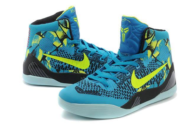 new arrival 83ed9 714b0 Mens   Womens Nike Zoom Kobe IX Kobe 9 Original Basketball Shoes Black  Yellow Lightblue