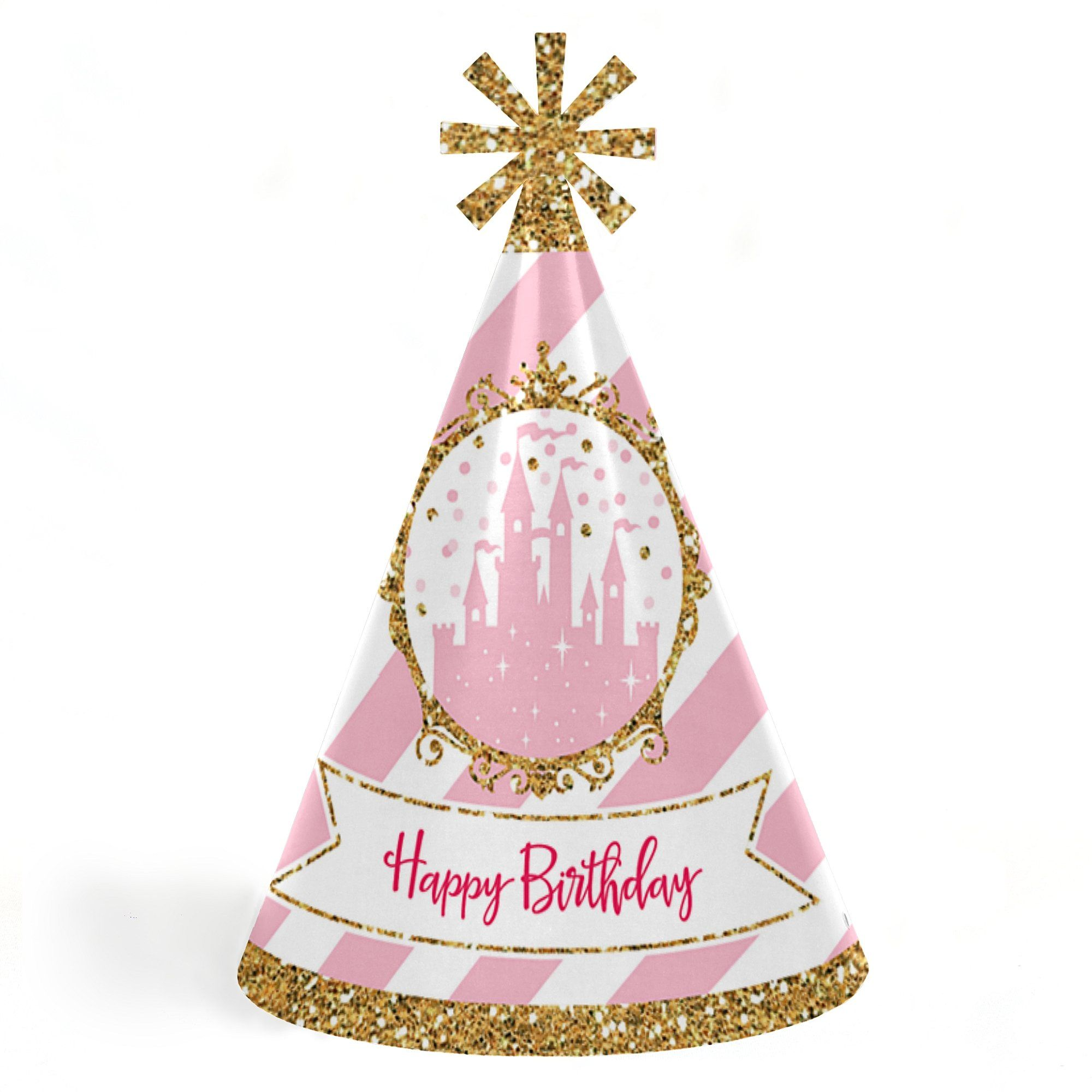 Little Princess Crown Cone Pink And Gold Happy Birthday Party Hats For Kids Adults Set Of 8 Standard Size Check Out The Image By Visiting