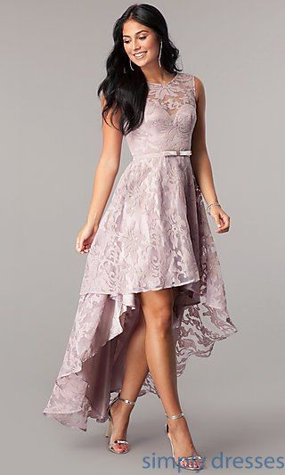 Lace High Low Sleeveless Semi Formal Party Dress Formal