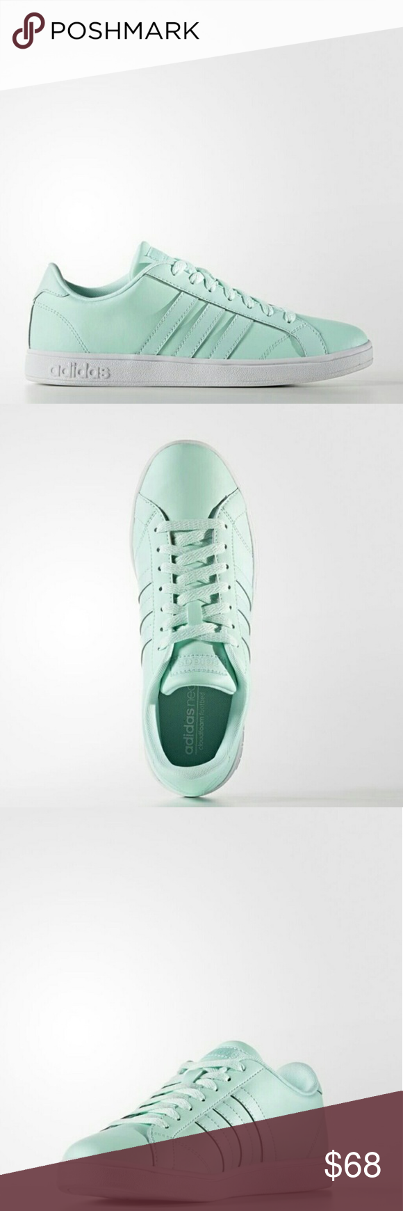 Adidas Women's Seafoam Sneaks Clean, court-inspired fashion. These girls' shoes show off a performance-ready look in leather. Classic color combinations give them timeless style.  Leather Imported Rubber sole Leather upper Synthetic leather 3-stripes Comf
